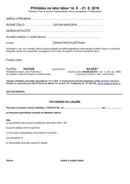Přihláška na letní tábor 14. 8. - 21. 8. 2016