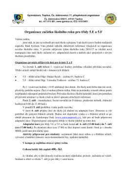5.E a F - Gymnázium Teplice