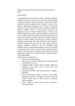 Bezpapírový provoz laboratoře jako nástroj pro zvýšení efektivity a
