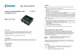 Audio převodník digitálního zvuku na analogový zvuk Obj. č.: 121 11