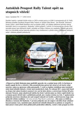 Autoklub Peugeot Rally Talent opět na stupních vítězů!