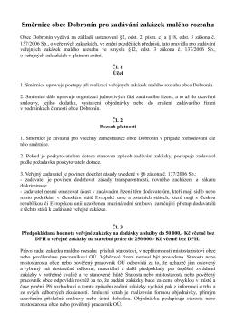Směrnice obce Dobronín pro zadávání zakázek
