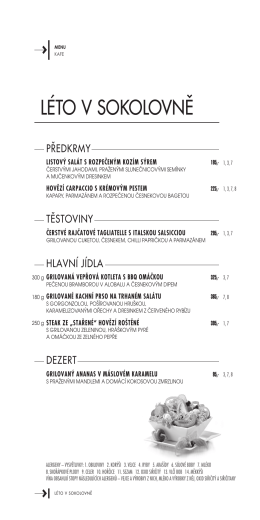speciální letní menu