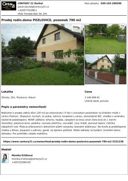 Prodej rodin.domu POZLOVICE, pozemek 790 m2