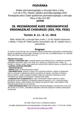 pozvánka 29. mezinárodní kurz endoskopické endonazální chirurgie