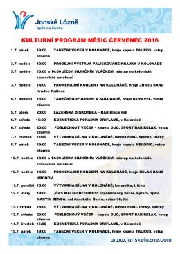 KULTURNÍ PROGRAM MĚSÍC ČERVENEC 2016
