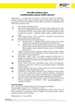 """Pravidla reklamní akce """"Podnikatelské eKonto"""