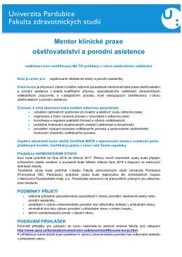 Mentor klinické praxe ošetřovatelství a porodní asistence
