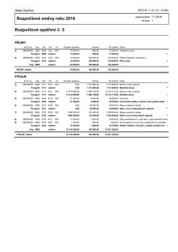 Rozpočtové opatření č. 5 /2016