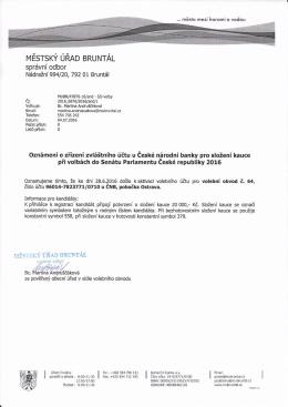 MěÚ Bruntál, správní odbor, Oznámení o zřízení zvláštního účtu pro