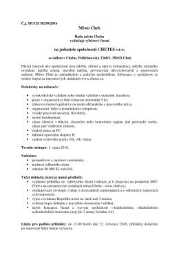 Výběrové řízení - jednatel/ka společnosti CHETES s. r. o.