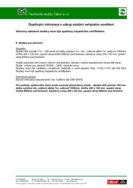 Doplňující informace k nákup stožárů veřejného osvětlení