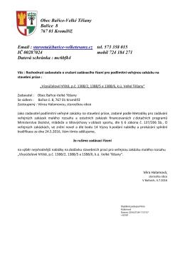 Oznámení o zrušení výběrového řízení