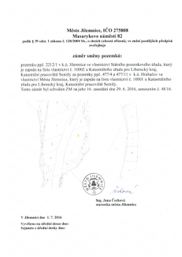 Mesto Jilemnice, ICO 275808 Masarykovo namesti 82 zamer smeny