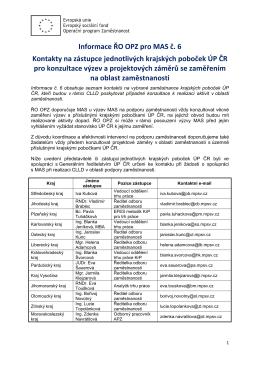 Informace ŘO OPZ pro MAS č. 6 Kontakty na zástupce