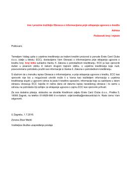 Obrazac o informacijama prije sklapanja ugovora o kreditu
