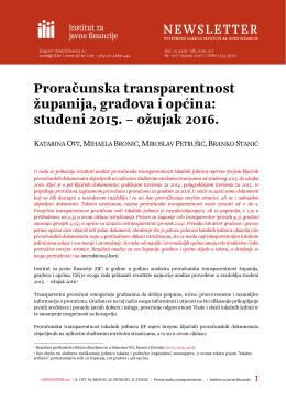 Proračunska transparentnost županija, gradova i općina: studeni