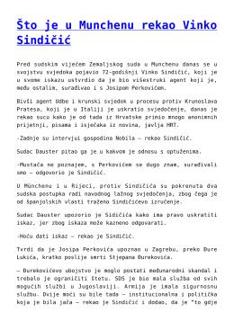 Što je u Munchenu rekao Vinko Sindičić