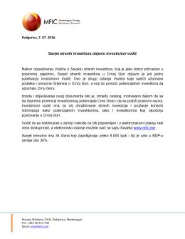 Podgorica, 7. 07. 2016. Savjet stranih investitora objavio