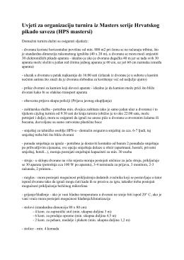 Uvjeti za organizaciju turnira iz Masters serije Hrvatskog pikado