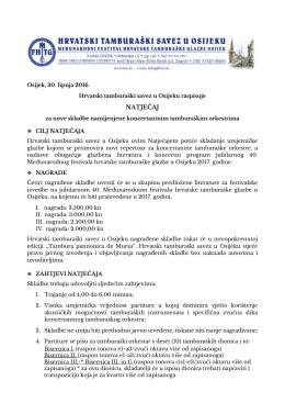 natječaj - Hrvatski tamburaški savez u Osijeku