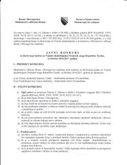 javni konkurs - Ministarstvo odbrane Bosne i Hercegovine