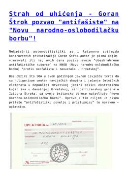 "Strah od uhićenja - Goran Štrok pozvao ""antifašiste"" na"