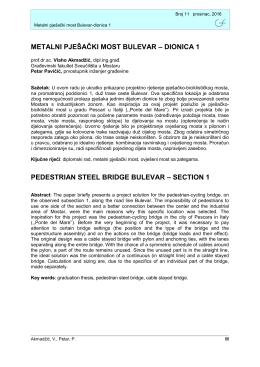 METALNI PJEŠAČKI MOST BULEVAR – DIONICA 1 PEDESTRIAN
