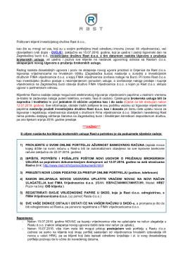 Novi Ugovor o pružanju brokerskih usluga od 18.07.2016