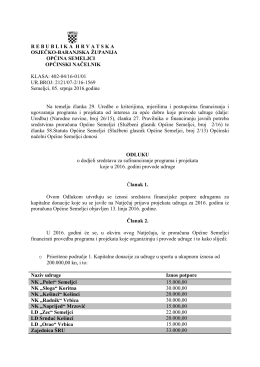 Odluka o dodjeli sredstava II