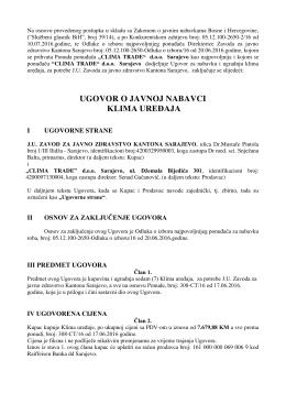 ugovor o javnoj nabavci klima uređaja