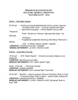 """program manifestacije kulture, sporta i trgovine """"ilijaški dani"""" 2016."""