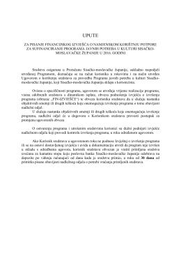 Upute za pisanje financijskog izvješća o namjenskom korištnju