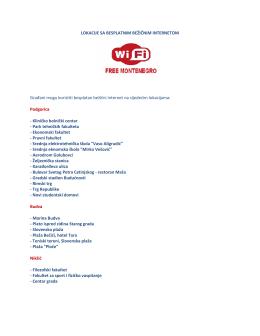 Besplatne WiFi lokacije i širokopojasni pristup internetu