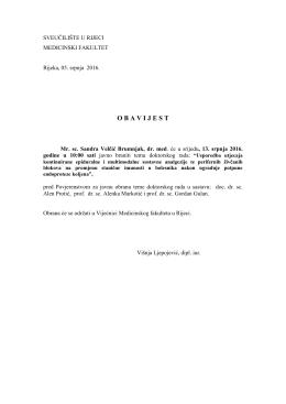Obavijest o obrani teme doktorskog rada mr. sc. Sandre Velčić