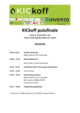 Program KICkoff POLUFINALE 8.7.2016.
