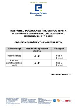 Kandidati za odsjek Menadžment na engleskom jeziku