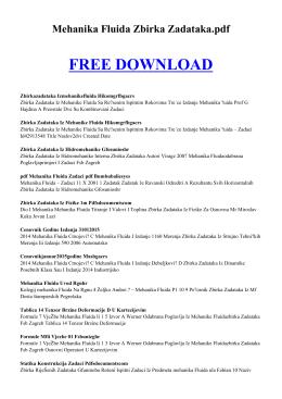 mehanika fluida zbirka zadataka pdf