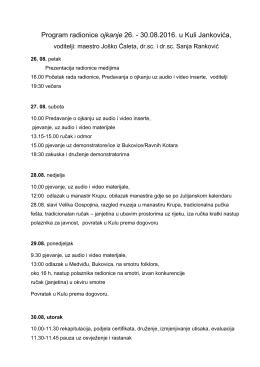 Program rada radionice ojkanje/groktenje 28, 29 i 30