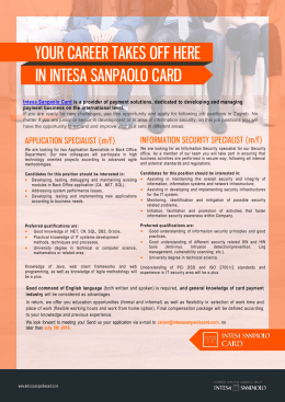 your career takes off here in intesa sanpaolo card your career
