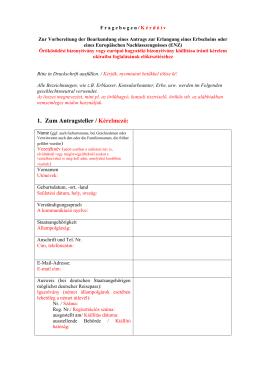 Fragebogen zur Vorbereitung der Beurkundung eines Antrags zur