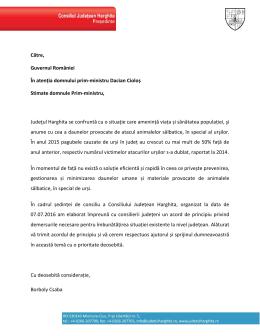 Către, Guvernul României În atenția domnului prim