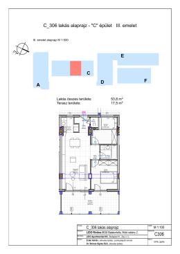 """C_306 lakás alaprajz - """"C"""" épület III. emelet A D E C F"""