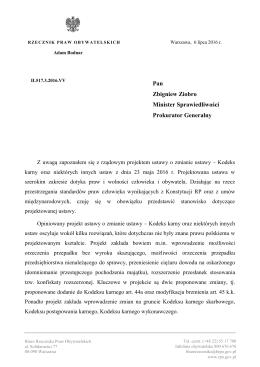 Pan Zbigniew Ziobro Minister Sprawiedliwości Prokurator Generalny