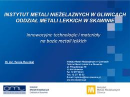 Innowacyjne technologie i materiały na bazie metali lekkich