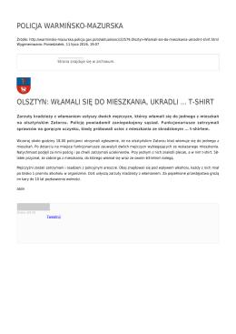 policja warmińsko-mazurska olsztyn: włamali się do mieszkania