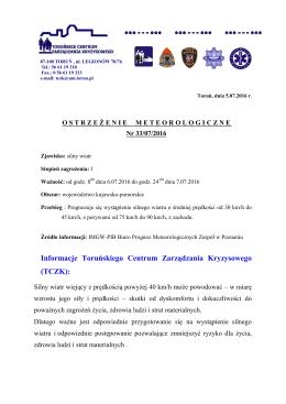 Informacje Toruńskiego Centrum Zarządzania Kryzysowego (TCZK):