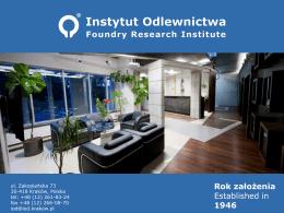 Oferta Instytutu Odlewnictwa - Instytut