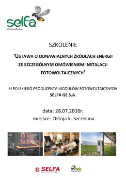 Agenda szkolenia Ostoja - Selfa-PV