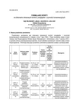 Formularz na dokonanie okresowych kontroli, przeglądów i